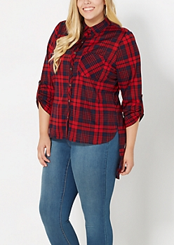 Plus Red Plaid High-Low Button Down