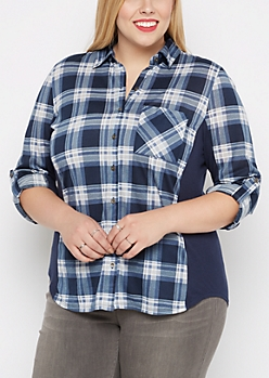 Plus Navy Plaid Knit Paneled Shirt