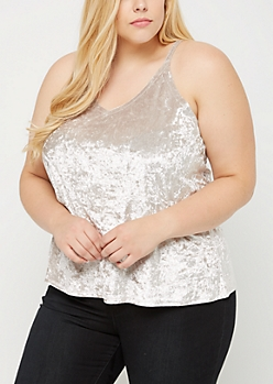 Plus Gray Crushed Velvet Cami