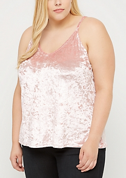 Plus Pink Crushed Velvet Cami