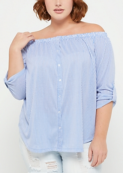 Plus Blue Striped Button Down Off Shoulder Top