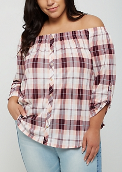 Plus Pink Striped Button Down Off Shoulder Top