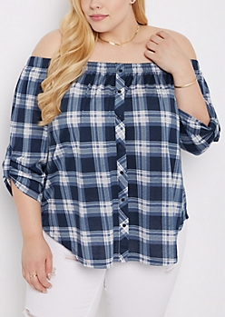 Plus Plaid Off-Shoulder Shirt