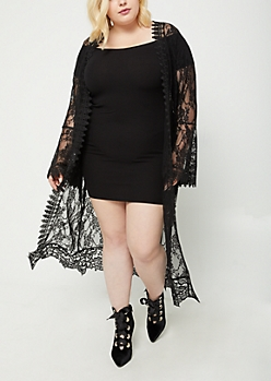 Plus Black Sheer Floral Lace Duster