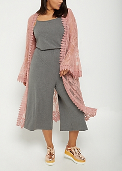 Plus Pink Sheer Floral Lace Duster