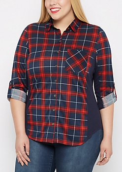 Plus Red Plaid Knit Paneled Shirt