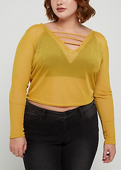 Plus Mustard Caged Mesh Crop Top