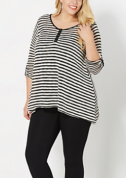 Plus Ivory Striped Pullover Top