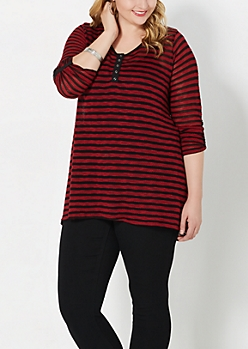 Plus Red Striped Pullover Top