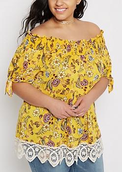 Plus Floral Crochet Trim Off-Shoulder Top