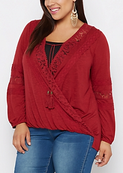 Plus Crochet Ric Rac Surplice Top