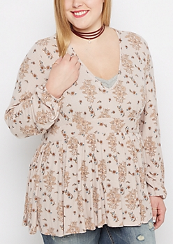 Plus Floral Ribbed Babydoll Top by Clover + Scout®