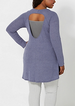 Plus Heather Navy Keyhole Thermal Top