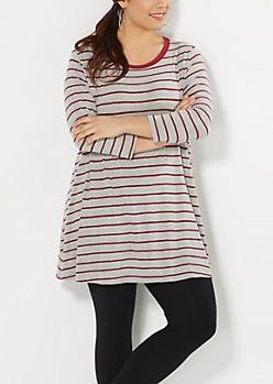 Plus Burgundy Knit Striped Tent Dress