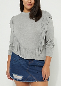 Plus Gray Ruffled Open Back Top