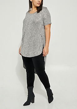 Plus Gray High Low Soft Knit Tee