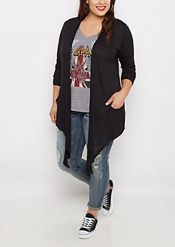 Plus Black Sharkbite Open-Front Cardigan