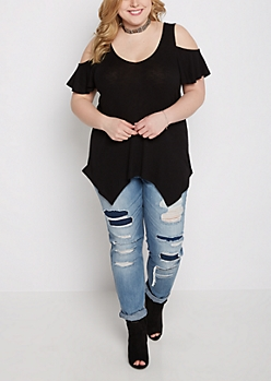Plus Black Cold Shoulder Sharkbite Tee