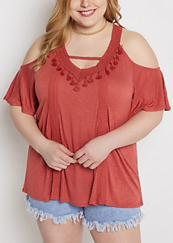 Plus Salmon Cold Shoulder Tasseled Top