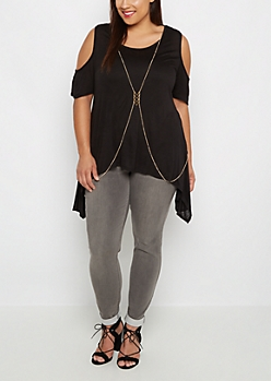Plus Black Body-Chained Cold Shoulder Top