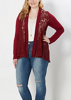 Plus Burgundy Lace Cardigan