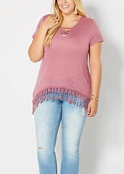 Plus Soft Pink Arched Crochet Hem Top
