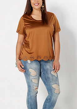 Plus Cognac Floral Cut-Out Top