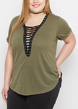 Plus Olive Lattice Cuffed Shirt