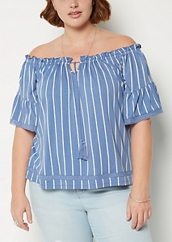 Plus Blue Striped Off Shoulder Shirt