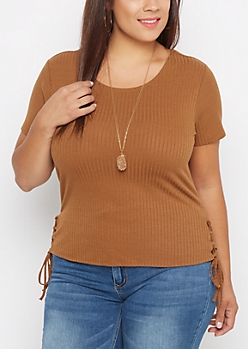Plus Brown Lace-Up Side Tee