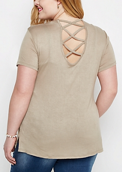 Plus Taupe Lattice V-Back Tee