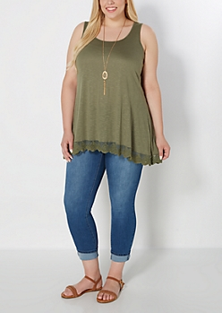 Plus Olive Lace Trim Tunic Tank Top