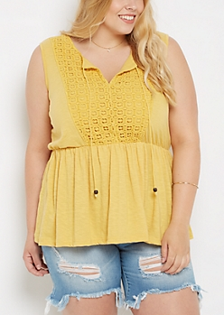 Plus Mustard Geo Crochet Babydoll Tank Top