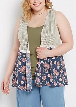 Plus Floral & Lace Vest