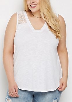 Plus White Lace Yoke Tank Top