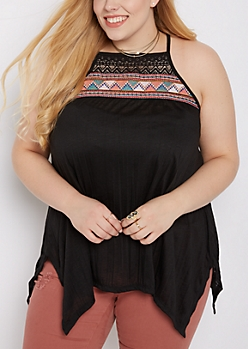 Plus Black Tribal Embroidered Tank Top