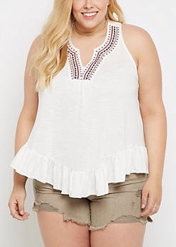 Plus Tribal Stitched T-Back Tank Top