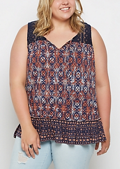 Plus Boho Ruffled Tank Top
