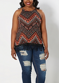 Plus Tribal Chevron High Neck Tank
