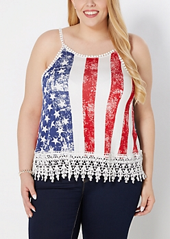 Plus American Flag Ric-Rac Trim Crop Tank