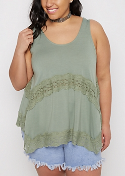 Plus Light Green Daisy Lace Swing Tank