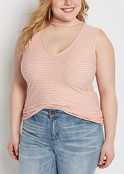 Plus Pink Striped Keyhole Mock Neck Tank