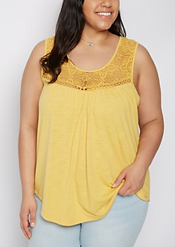 Plus Mustard Crochet Yoke Tank Top