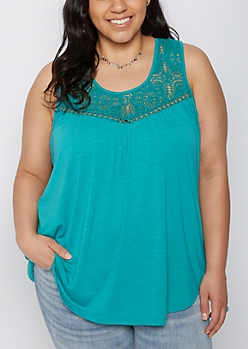 Plus Teal Crochet Yoke Tank Top