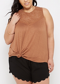 Plus Tan Diamond Crochet Swing Tank