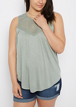 Plus Mint Diamond Crochet Swing Tank