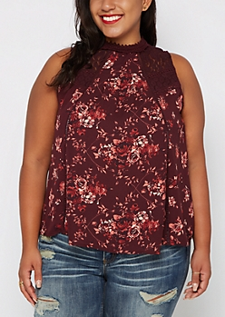 Plus Floral High Neck Tank By Clover + Scout®