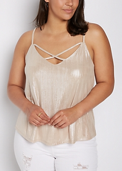 Plus Gold Shimmer Cross-Strap Cami