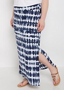Plus Navy Tie Dye Side Slit Maxi Skirt