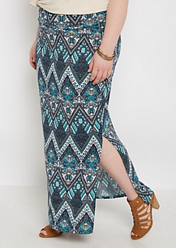 Plus Boho Chevron Side Split Maxi Skirt